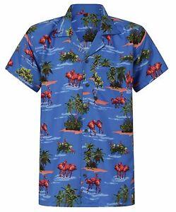 LOUD MENS HAWAIIAN SHIRT FLAMINGO ALOHA HAWAII HOLIDAY PARROT STAG BEER S-XXL UK