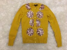New J Crew Embellished Cotton Jackie Cardigan Sweater Sunset Gold Sz Xxs G0582