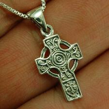 Box Chain, Plain Solid Silver, pn112 Tiny Celtic Knot Cross Silver Pendant, +