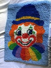 NTL YARN CRAFTS Smile the Clown Latch Hook Finished Wall Hanging 28 X 20 Vintage