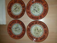 4  Sakura LES OLIVES By Gracey Knight Earthenware Sage Orange Gold Lunch Plates