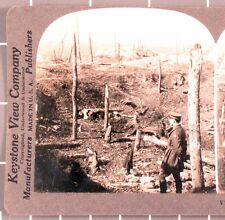 WWI Stereoview card:   American Officer Views Battle Damage at Chemin des Dames