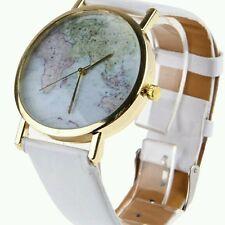 World Map Globe White Fashion Leather Band Womens Analog Quartz Wristwatch