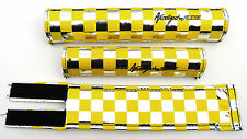 Anodized by FLITE old school BMX bicycle padset pads CHECKERBOARD YELLOW CHROME