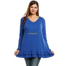 New Women Casual V-Neck Long Sleeve Solid Plus Size Top T-shirt Eh7E