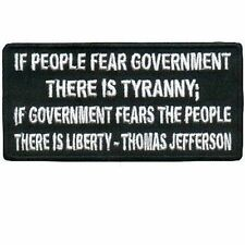 Fear Of Government is Tyranny Funny Motorcycle MC Club Biker Vest Patch PAT-0623