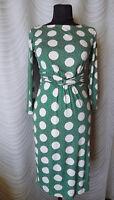 Boden Jersey Green Polka Dot 3/4 Sleeve Dress  Size UK 8R US 4R