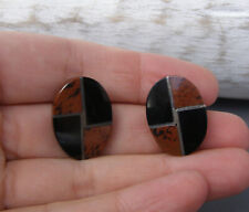 Sterling Silver Black Onyx Brown Agate Inlay Earrings Mexico Artisan Oval Studs