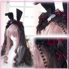 Gothic Lolita Vintage Cute Bunny Ears Rose Lace Veil Headband Hair Accessories #