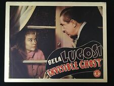 BELA LUGOSI Invisible Ghost 1941 Monogram Lobby Card POVERTY ROW Horror VF