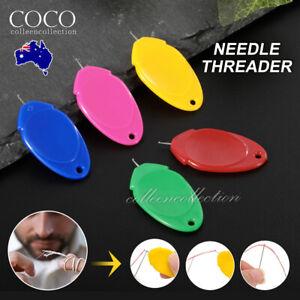 New Needles Threader for Hand Sewing Plastic Wire Loop DIY Simple Threaders AU