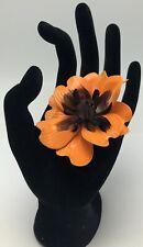 Vintage Enamel Orange Dahlia Flower Floral Pin Brooch 3D Large Figural