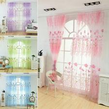 Flower Print Window Curtain Sheer Drape Divider Pastoral Bedroom Decor Novelty
