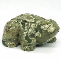 "Frog Figurine 2.5"" Natural Rainforest Jasper Carved Animal Statue Home Decor2821"
