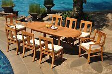 "9pc Grade-A Teak Dining Set 94"" Oval Table 8 Osborne Chair Outdoor Patio"