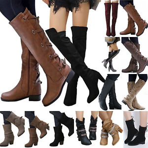Women Over the Knee Riding Boots Lady Booties Mid Calf Warm Block Heel Shoe Size
