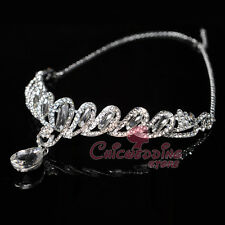 Rhinestone Jeweled Wedding Tiara Crystal Pendant Crown Veil Hair Chain Accessory