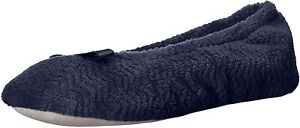 Isotoner Womens Chevron Microterry Closed Toe Slip On, Navy Blue, Size 9.5 6ZFA