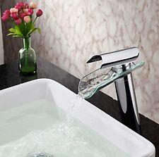 Bathroom Taps Deck Mounted Tall Glass Waterfall Faucet Sink Basin Mixer Water