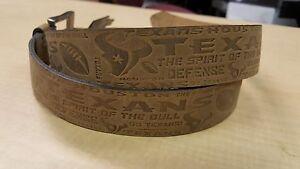 Houston Texans Crazy Horse Embossed Slogan Mens Leather Belt Brown Tan NFL 34 40