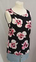 Ladies F&F Orchid Print Tie Back Top Black Pink UK Size 6 8 10 12 14 16 18 20 22