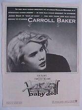 BABY DOLL - 1956 Trade Ad - CARROLL BAKER