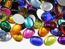 "25x18mm 1"" x 3/4"" Flat Back Acrylic Oval Cabochon High Quality 24 Colors 20 PCS"