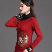 Lady Ethnic Embroidery Shirt Retro Chinese Tops Turtle Neck Blosue Floral Slim