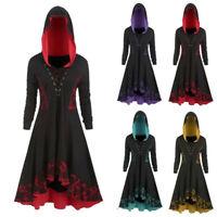 Women's Gothic Style Dress Long Sleeve Lace Up Hooded Dress Hem Vintage Dresses
