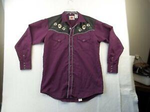 Vintage MWG Apparel Plum Western Shirt Mens L Black Pearl Snaps & Embroidery EUC