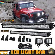 "54"" + 32""  LED Light Bar Combo Work Offroad+4"" 18W For PICKUP Fog Pods+Wiring"