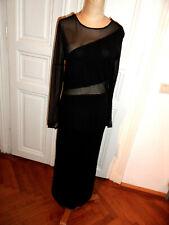 schwarzes langes Kleid + transp. Streiftülleinsatz+Ärmel, elastisch, Gr. 40,