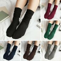 Womens Elastic Solid Girls Soft Casual Ribbed Ankle High Middle Tube Heap Socks