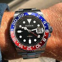 40mm PARNIS black dial Pepsi bezel Sapphire Glass GMT Date automatic men's watch