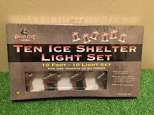 """New Set Of 10 """"Gone Fishing"""" Ice Shelter Blow Mold Patio/Party/RV Novelty Lights"""