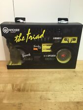 Wicked Audio Triad 4 Piece Set Portable Mini Speaker, Ear Buds, & Headphones NIB