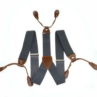 New 3.5cm Width Mens Suspenders Braces Solid Adjustable 6 Button Hole Leather
