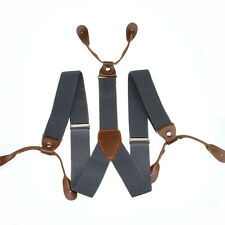 Mens Leather Elastic Suspenders Y-Back Button with Holes Adjustable Belt Braces