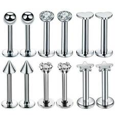 12pcs 16G 316L Stainless Steel Lip Bar Labret Rings Tragus Stud Piercing Jewelry