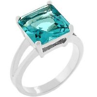 18K W GOLD EP 8.0CT AQUAMARINE SOLITAIRE RING SIZE 5 - 10 you choose