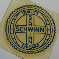 NOS Schwinn Quality Round Blue Seat Tube Bicycle Water Decal 60s Hornet American