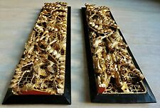 CARVED GILT WOOD WALL PANEL LACQUER GILDED GOLD SHIELD SET PAIR FLOWERS BIRDS