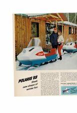 VINTAGE 1968 POLARIS '68 SNOW MOBILE ICECICLES SNOW BUNNY LODGE CABIN AD PRINT