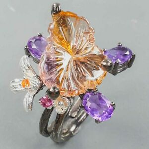 Flower carving jewelry Ametrine Ring Silver 925 Sterling  Size 8 /R170218