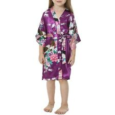 Silk Satin Flower Girls Dress Children Kimono Robe Kids Nightwear Gown Wedding