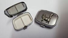 Maine Coone Cat PP-C07 English Pewter Emblem on a Rectangular Metal Pill Box