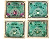WW2 Allied Currency France Emis En France Deux Dix Francs DE 1944 (Lot of 4)