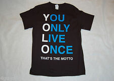 MENS Tee Shirt L 42-44 YOLO YOU ONLY LIVE ONCE That's The Motto BLACK
