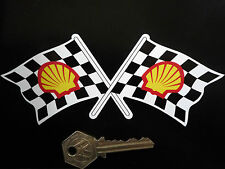 "SHELL Modern Crossed Chequered Flags Car STICKERS 6"" Lotus BRM Ferrari Race Bike"