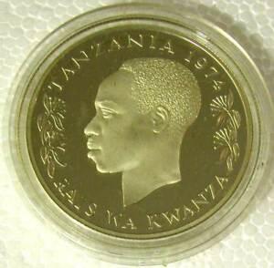 TANZANIA-BIG SILVER 925 PROOF 25 SHILINGI 1974-KM#7A